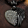 Winged Heart Stone Inlays Pendant with chain レディースペンダント WWP-7740 with spinel